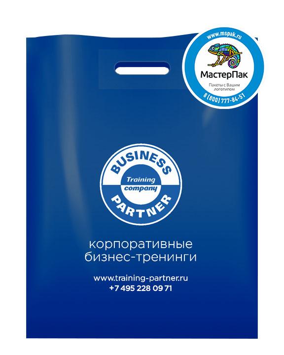 Пакет из ПВД с логотипом Business Partner, 70 мкм, 36*45, синий