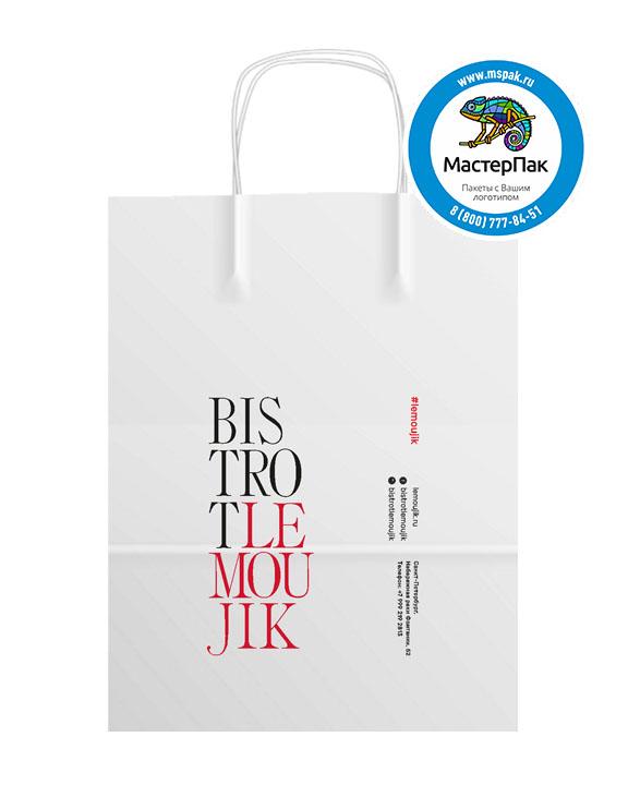 Пакет крафтовый с логотипом BISTROT LEMOUJIK, крученые ручки, 45*15*35, 80 гр.