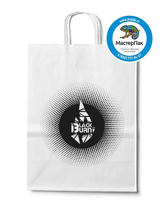 Пакет крафтовый с логотипом Black Burn, крученые ручки, 45*15*35, 80 гр.
