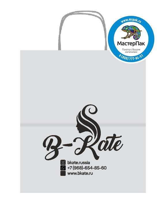 Пакет крафтовый с логотипом B-Kate, крученые ручки, 22*12*25, Москва, 80 гр.
