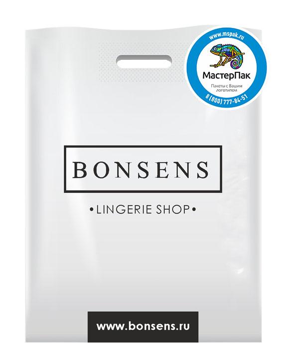 Пакет из ПВД с логотипом BONSENS, 70 мкм, 30*40, белый