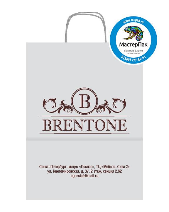 Пакет крафтовый с логотипом BRENTONE, Санкт-Петербург, крученые ручки, 45*15*35, 80 гр.