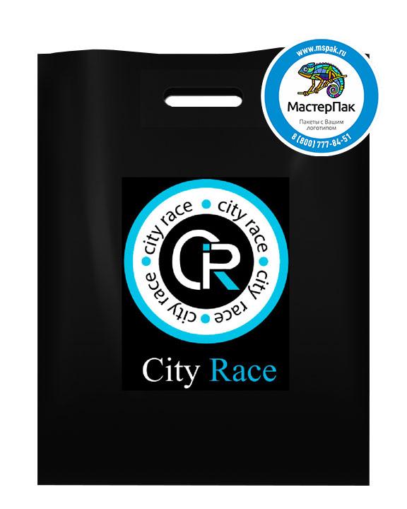 Пакет из ПВД с логотипом City Race, Москва, 70 мкм, 38*50, чёрный