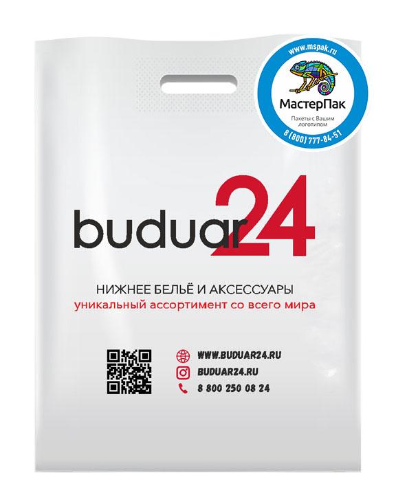 Пакет из ПВД с логотипом buduar 24, Санкт-Петербург, 70 мкм, 30*40, белый