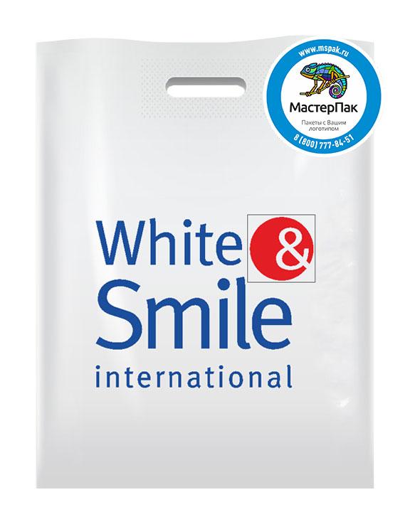 Пакет из ПВД с логотипом White & Smile International, Мурманск, 50 мкм, 27*35, белый