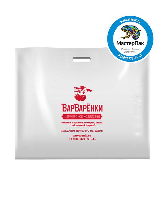Пакет из ПВД с логотипом ВарВарёнки, Москва, 70 мкм, 60*50, белый