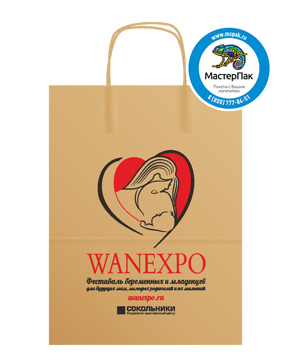 Пакет крафтовый с логотипом WANEXPO, крученые ручки, 26*14*35, Москва, 80 гр.