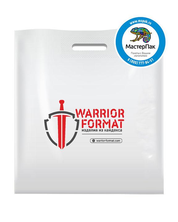 Пакет из ПВД с логотипом Warrior Format, 70 мкм, 45*50, белый