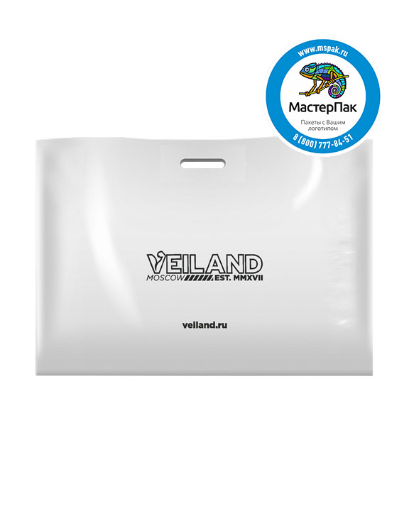 Пакет из ПВД с логотипом VEILAND, Москва, 70 мкм, 70*50, белый