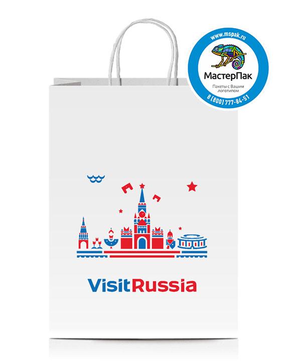 Пакет крафтовый с логотипом Visit Russia, крученые ручки, 37*32*20, Москва, 80 гр.