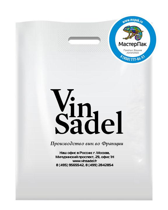 Пакет из ПВД с логотипом Vin Sadel, Москва, 70 мкм, 38*50, белый