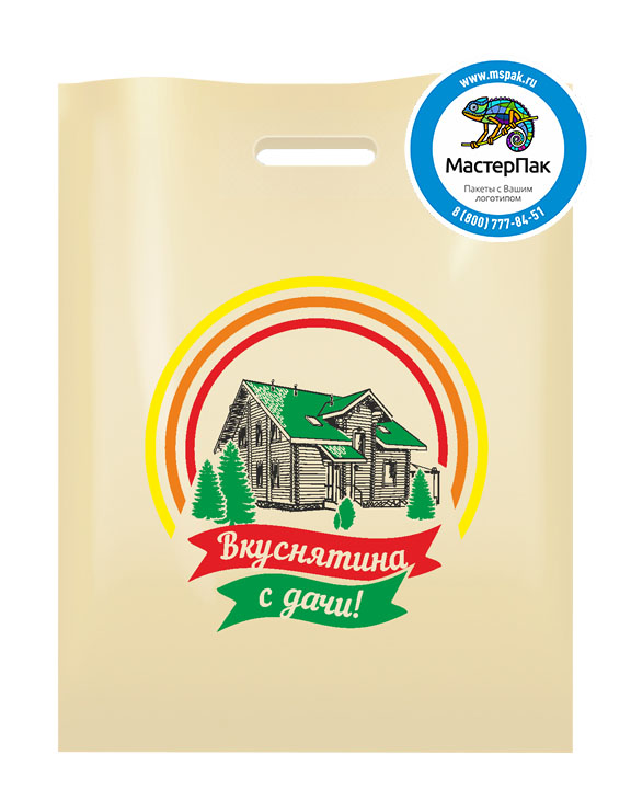 Пакет из ПВД с логотипом Вкуснятина с дачи, Москва, 70 мкм, 38*50, бежевый