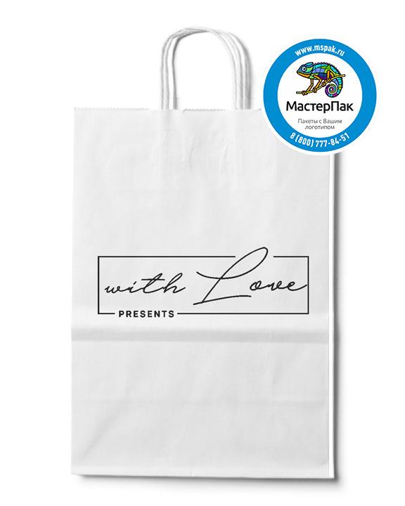 Пакет крафтовый с логотипом with love, крученые ручки, 29*16*40, Москва, 100 гр.