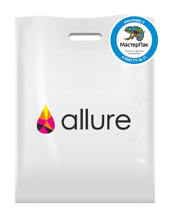 ПВД пакет с логотипом ALLURE, 70 мкм, 30*40, белый