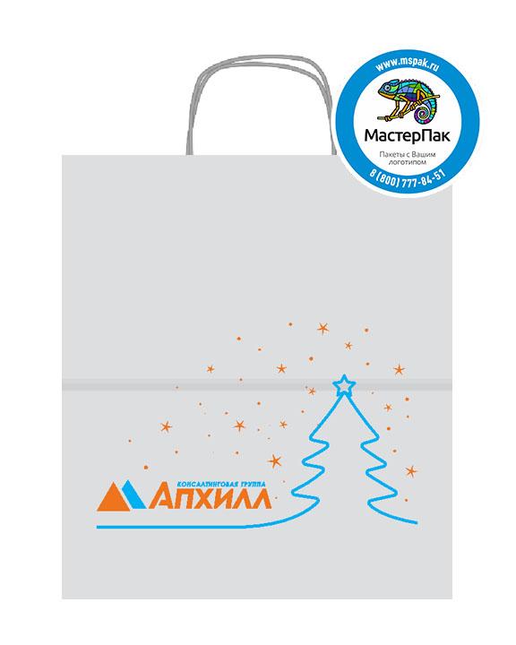 Пакет крафтовый с логотипом АПХИЛЛ, 24*11*32, 100 гр., крученые ручки