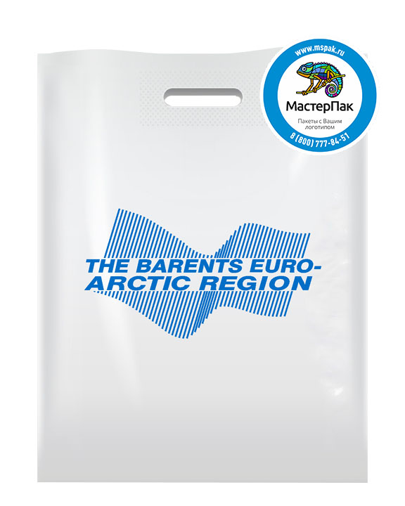 ПВД  пакет с логотипом The Barents Euro-Arctic Region, 70 мкм, 30*40, белый