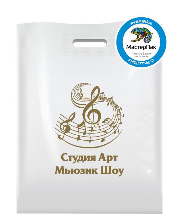 ПВД пакет с логотипом Студия Арт Мьюзик Шоу, 70 мкм, 30*40, белый
