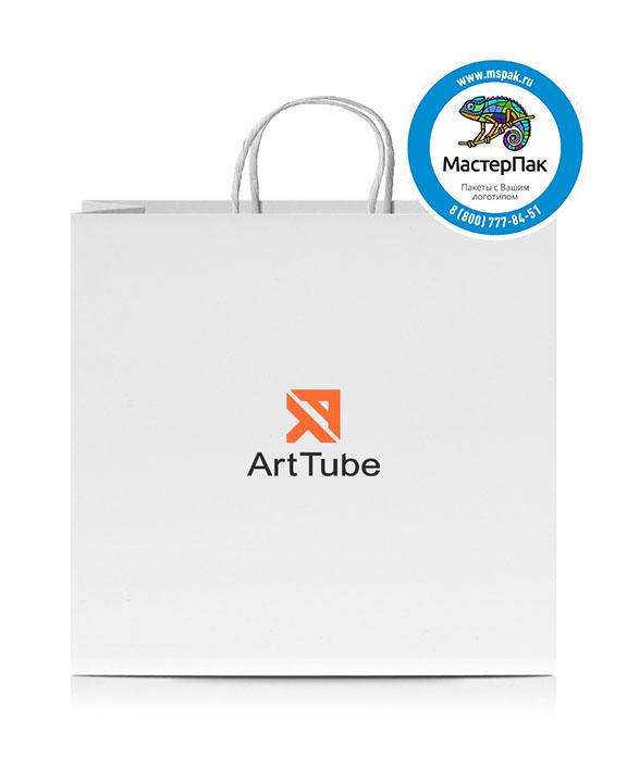 Пакет крафтовый с логотипом Art Tube, крученые ручки, 45*35*15 , 80 гр.
