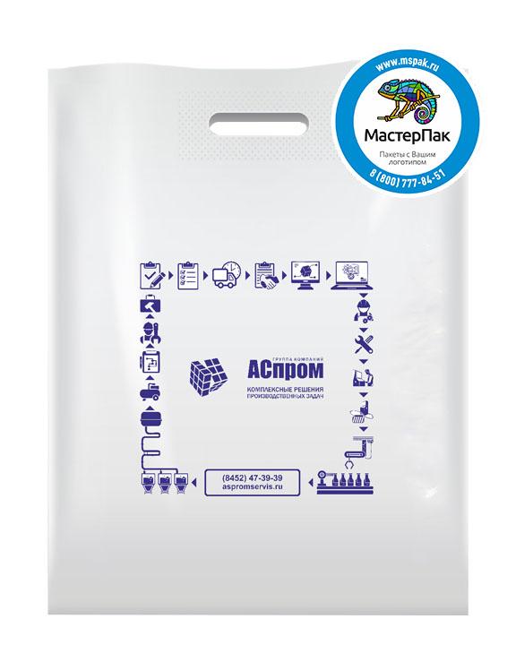 Пакет из ПВД с логотипом АСпром, 70 мкм, 38*50, белый, Саратов