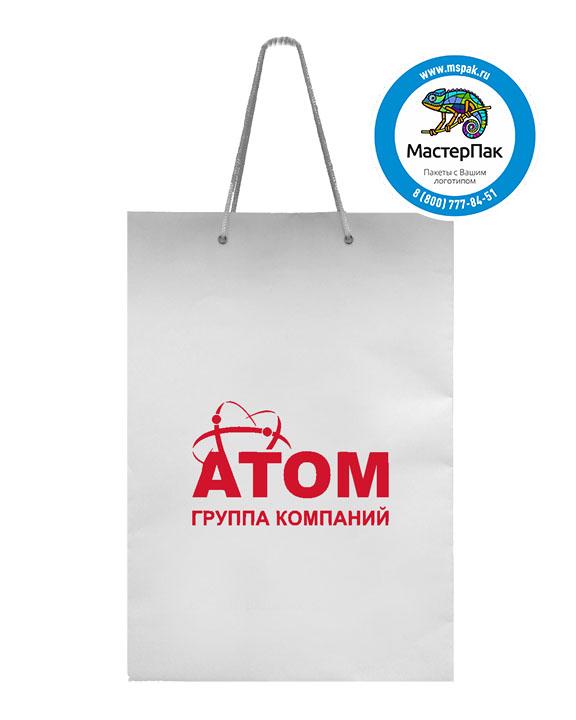 Пакет подарочный, бумажный, 25*36, 160 гр., с люверсами, с логотипом АТОМ, Санкт-Петербург