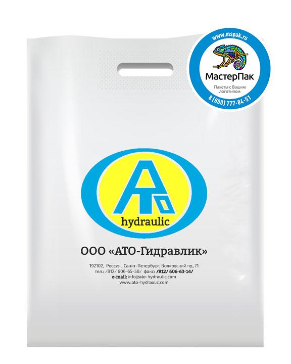 Пакет из ПВД с логотипом АТО-Гидравлик, Санкт-Петербург, 70 мкм, 38*50, белый
