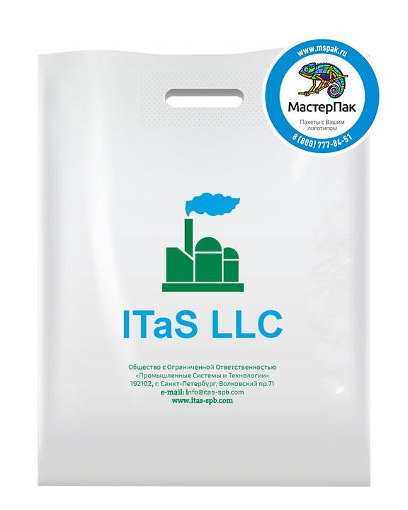 Пакет из ПВД с логотипом ITaS LLC, Санкт-Петербург, 70 мкм, 38*50, белый