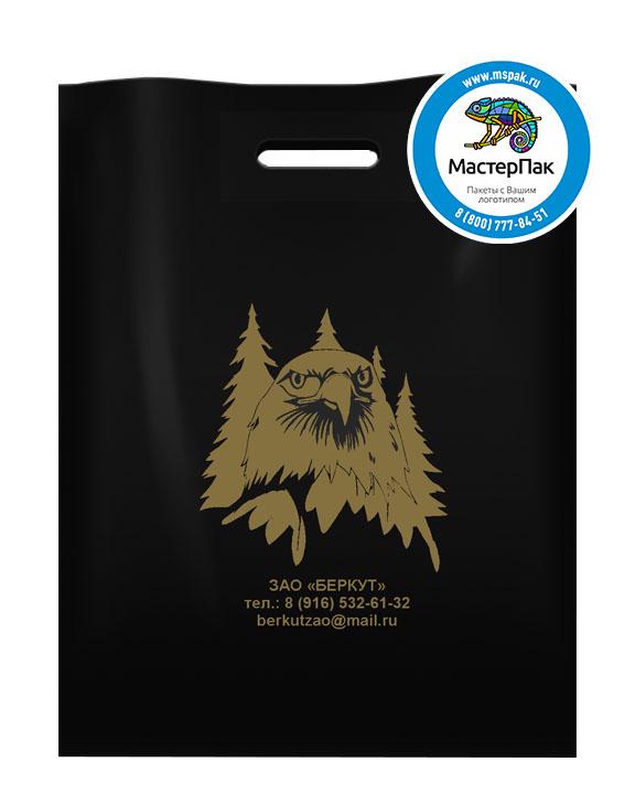 Пакет из ПВД с логотипом ЗАО Беркут, Санкт-Петербург, 70 мкм, 36*45, чёрный