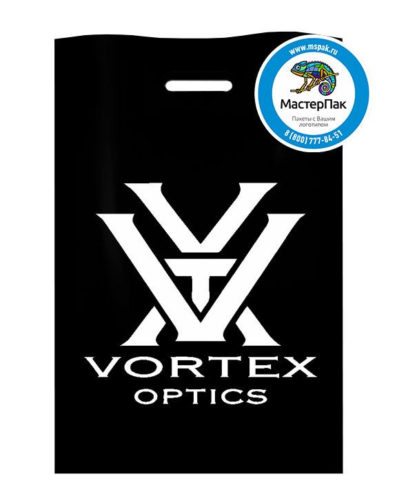 Пакет из ПВД с логотипом Vortex Optics, Москва, 70 мкм, 38*50, чёрный