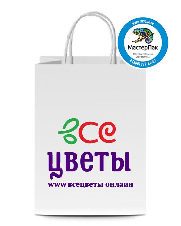 Пакет крафтовый с логотипом ЦВЕТЫ, крученые ручки, 26*14*35, 80 гр.
