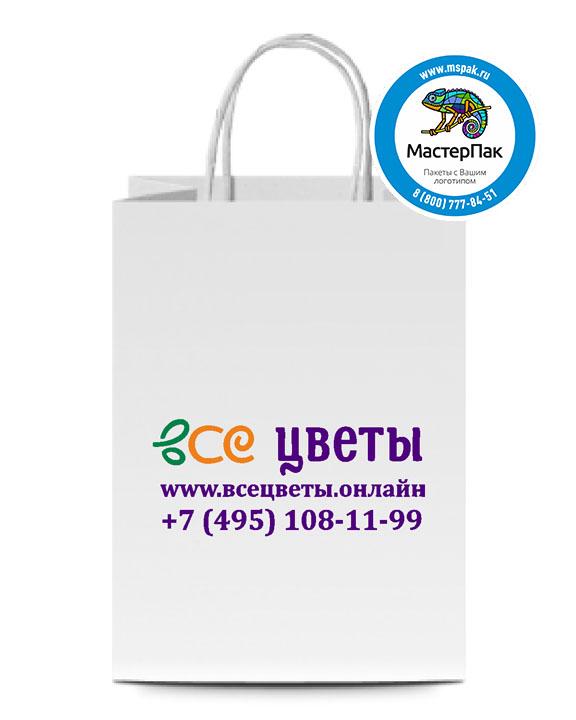 Пакет крафтовый с логотипом ЦВЕТЫ, крученые ручки, 26*14*35, Москва, 80 гр.