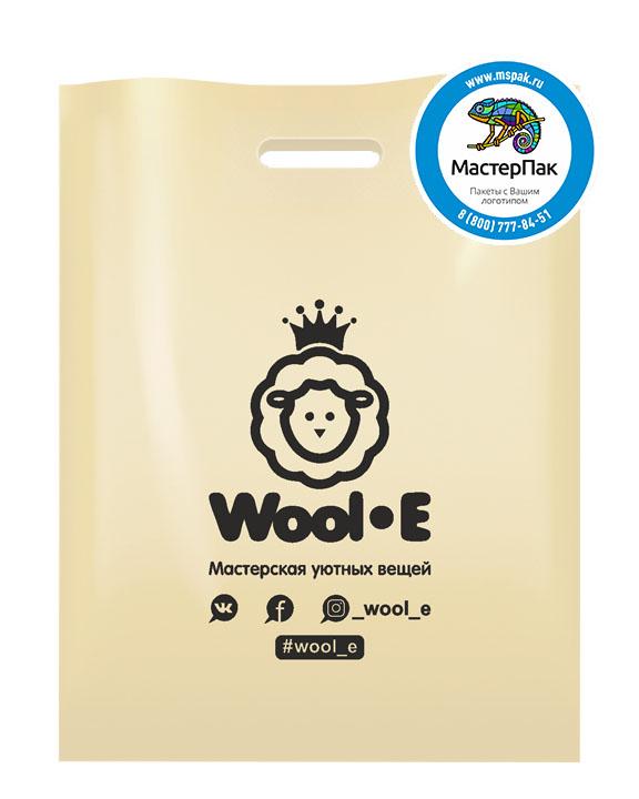 Пакет из ПВД с логотипом WOOL-E, 70 мкм, 30*40, бежевый