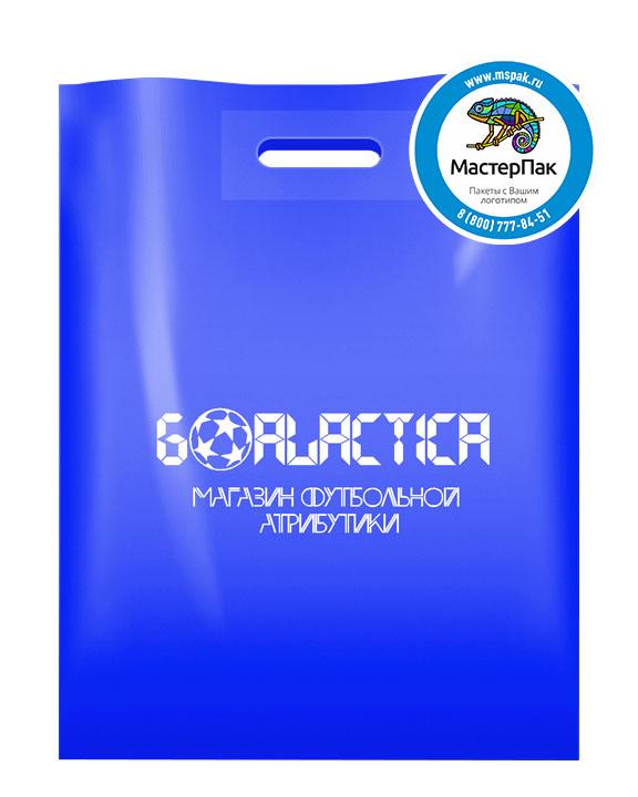 Пакет из ПВД с логотипом GALACTICA, 70 мкм, 30*40, голубой