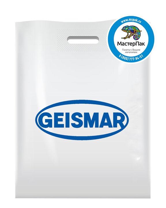 Пакет из ПВД с логотипом GEISMAR, Москва, 70 мкм, 38*50, белый