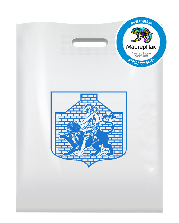 Пакет из ПВД с логотипом Герб, 70 мкм, 30*40, белый
