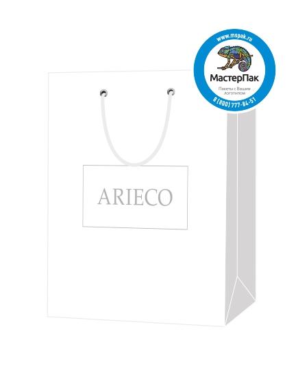 """Пакет подарочный, бумажный, 22*25, 200 гр.,с люверсами, ручка шнур, с логотипом """"ARIECO"""", Красноярск"""