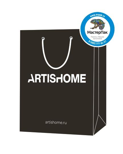"""Пакет подарочный, бумажный, 39*45, 200 гр.,с люверсами, ручка шнур, с логотипом """"ARTISHOME"""", Санкт-Петербург"""