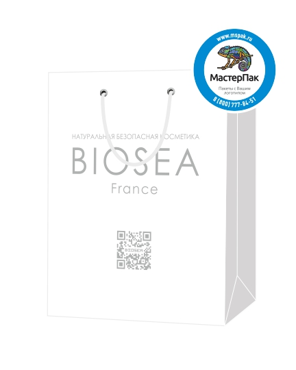 """Пакет подарочный, бумажный, 20*25, 200 гр.,с люверсами, ручка шнур, с логотипом """"BIOSEA"""", Москва"""
