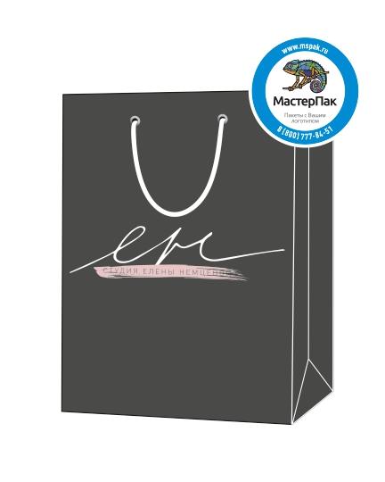 """Пакет подарочный, бумажный, 20*30, 200 гр.,с люверсами, ручка шнур, с логотипом """"Студия Елена Немцевой"""", Москва"""