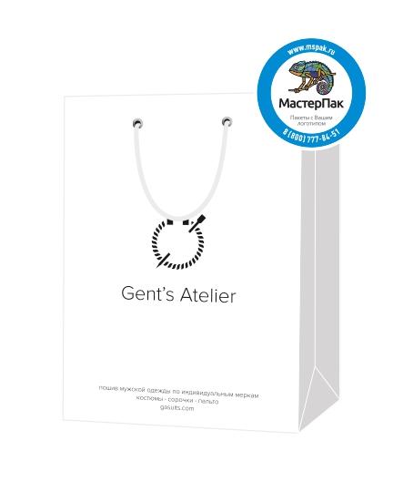 """Пакет подарочный, бумажный, 15*21, 200 гр.,с люверсами, ручка шнур, с логотипом """"Gent`s Atelier"""", Санкт-Петербург"""