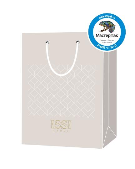 """Пакет подарочный, бумажный, 25*36, 200 гр.,с люверсами, ручка шнур, с логотипом """"ISSI"""", Москва"""