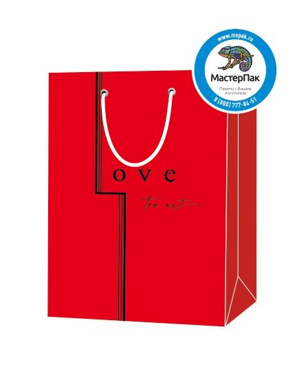 """Пакет подарочный, бумажный, 25*35, 200 гр.,с люверсами, ручка шнур, с логотипом """"Love tea art"""", Москва"""