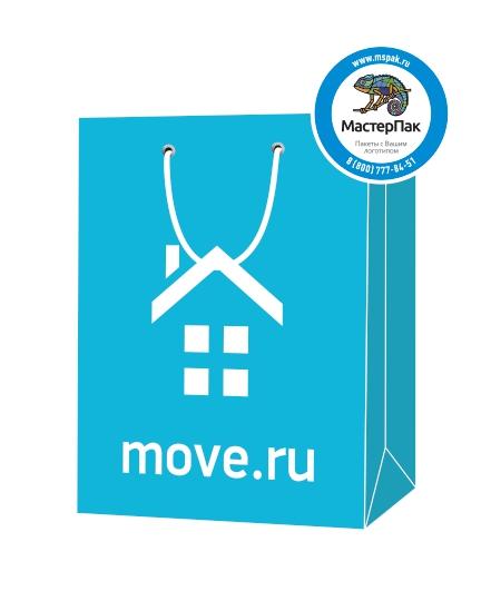 """Пакет подарочный, бумажный, 30*40, 200 гр.,с люверсами, ручка шнур, с логотипом """"move.ru"""", Москва"""