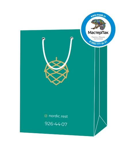 """Пакет подарочный, бумажный, 25*36, 200 гр.,с люверсами, ручка шнур, с логотипом """"nordic"""", Санкт-Петербург"""