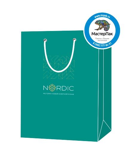 """Пакет подарочный, бумажный, 25*36, 200 гр.,с люверсами, ручка шнур, с логотипом """"NORDIC"""", Санкт-Петербург,"""
