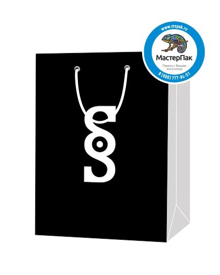 """Пакет подарочный, бумажный, 30*40, 200 гр.,с люверсами, ручка шнур, с логотипом """"SOS"""", Москва"""