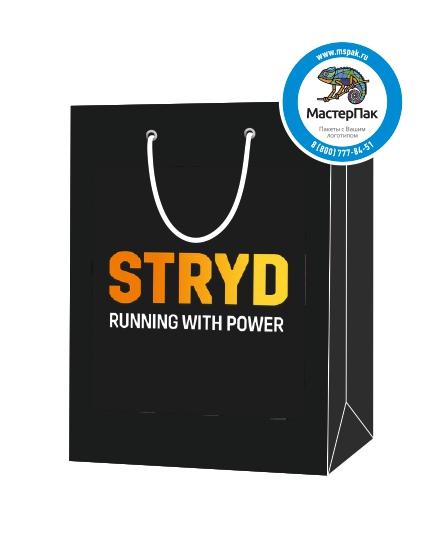 """Пакет подарочный, бумажный, 19*23, 200 гр.,с люверсами, ручка шнур, с логотипом """"STRYD"""", Москва"""