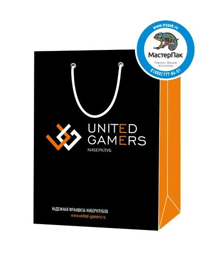 """Пакет подарочный, бумажный, 30*40, 200 гр.,с люверсами, ручка шнур, с логотипом """"United Gamers"""", Москва"""