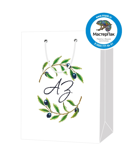 """Пакет подарочный, бумажный, 30*40, 200 гр.,с люверсами, ручка шнур, с логотипом """"АЗ"""", Санкт-Петербург"""