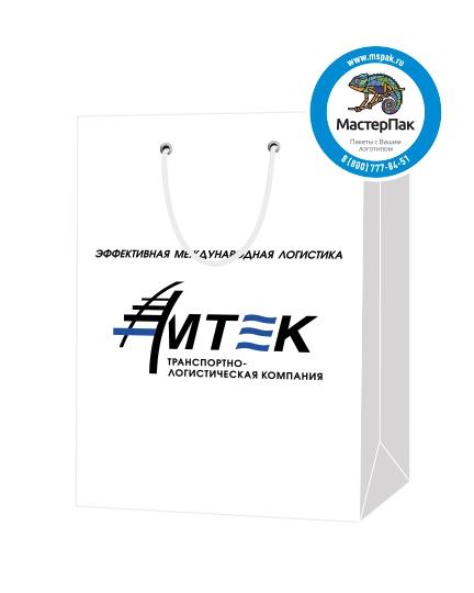 """Пакет подарочный, бумажный, 25*36, 200 гр.,с люверсами, ручка шнур, с логотипом """"АМТЕК"""", Москва"""