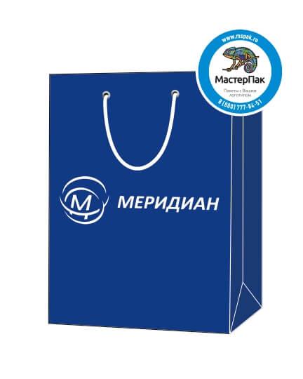 """Пакет подарочный, бумажный, 22*35, 200 гр.,с люверсами, ручка шнур, с логотипом """"МЕРИДИАН"""", Москва"""